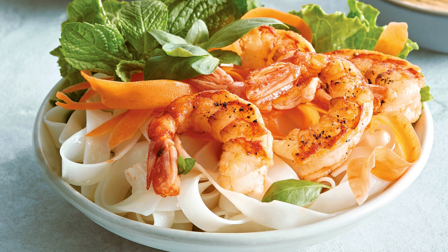 """Shrimp Summer Bowls with Spicy Peanut Sauce from """"The Newlywed Table."""""""