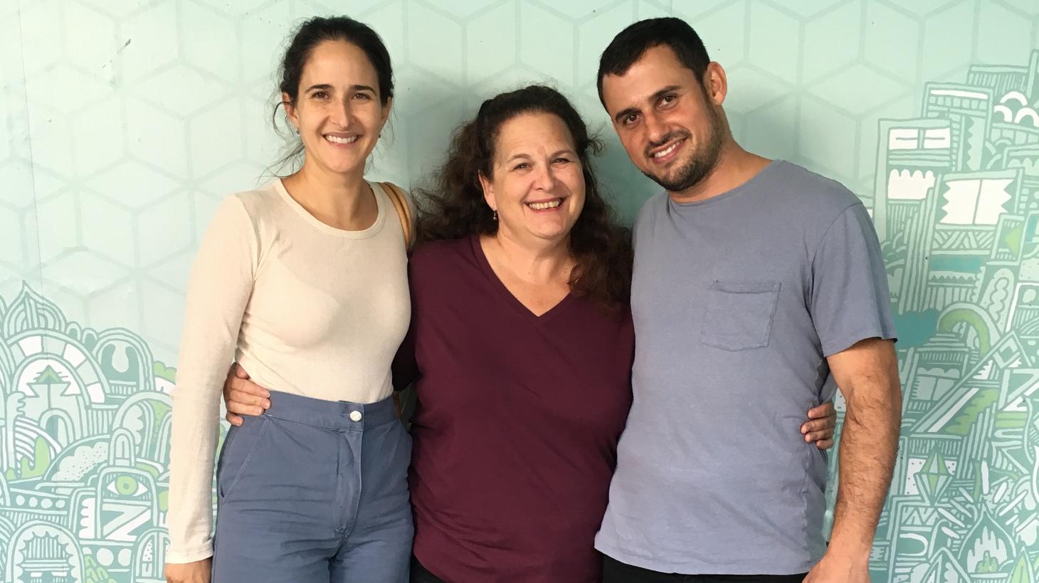Genevieve Gergis (L), Evan Kleiman (C), and Ori Menashe (R) at KCRW.