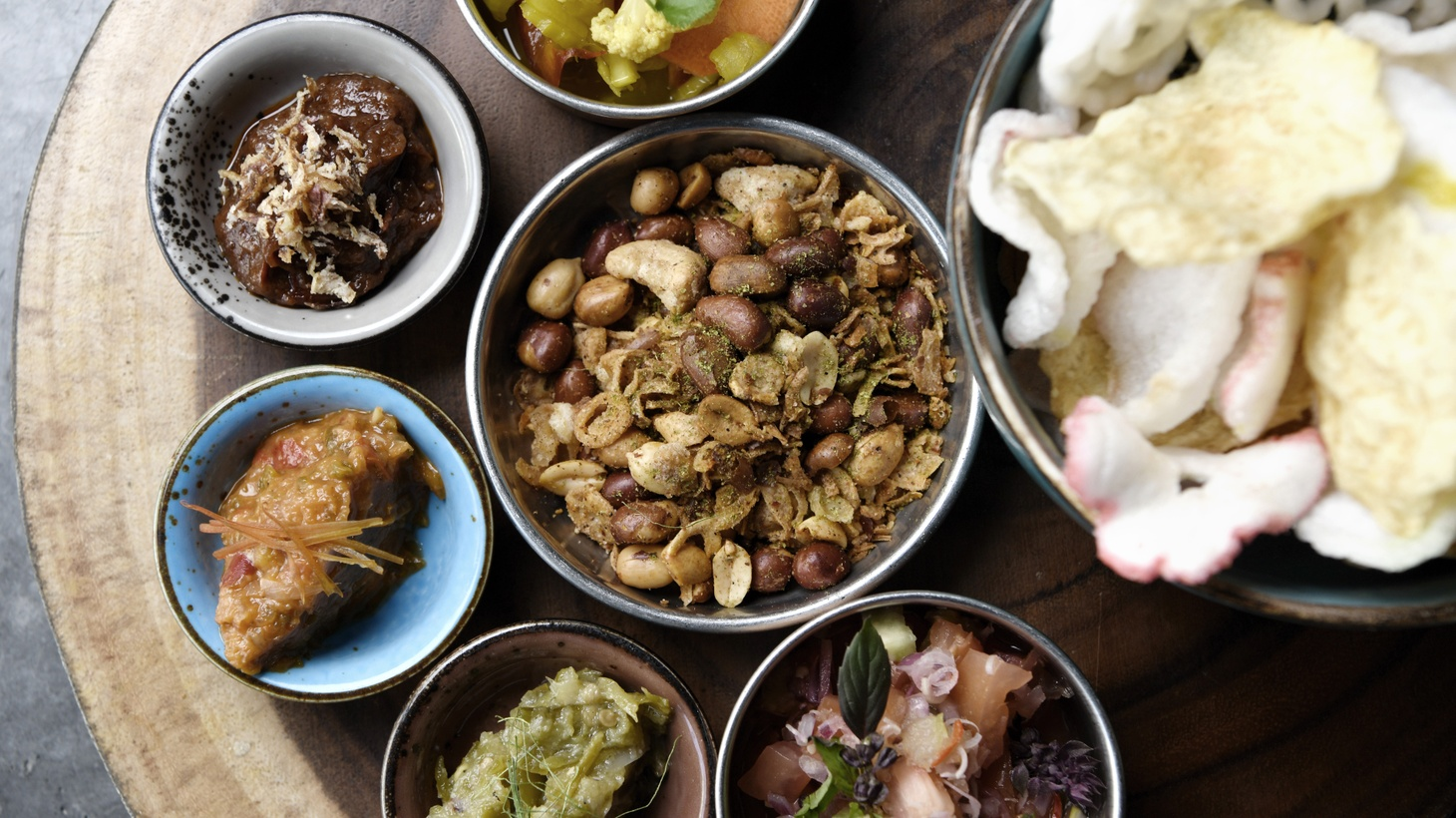 The sambal sample platter from Kasih, a new Indonesian restaurant in Little Tokyo.