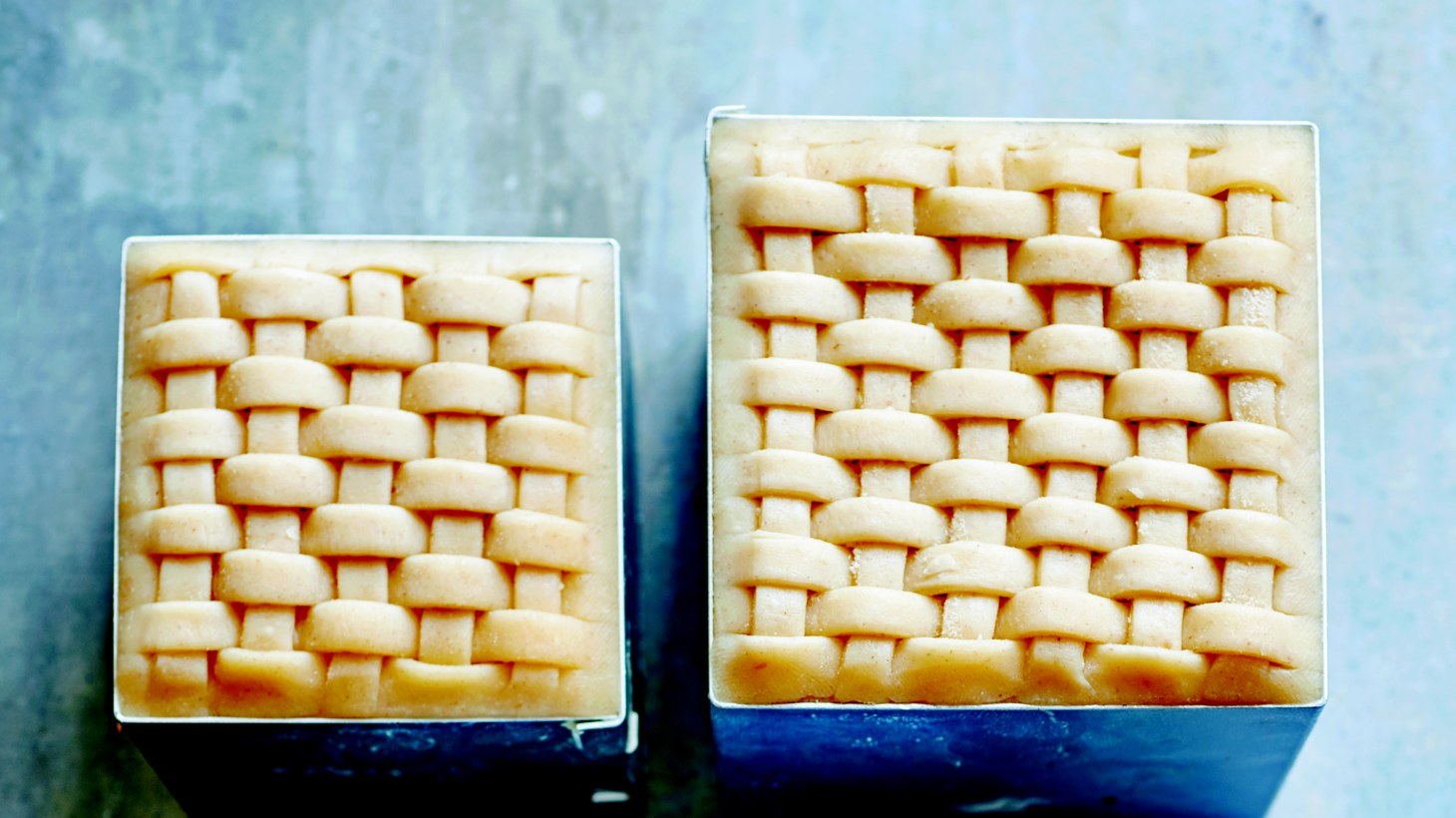 """Leek, Potato and Cheddar Cheese Cubes from """"The Pastry School."""""""