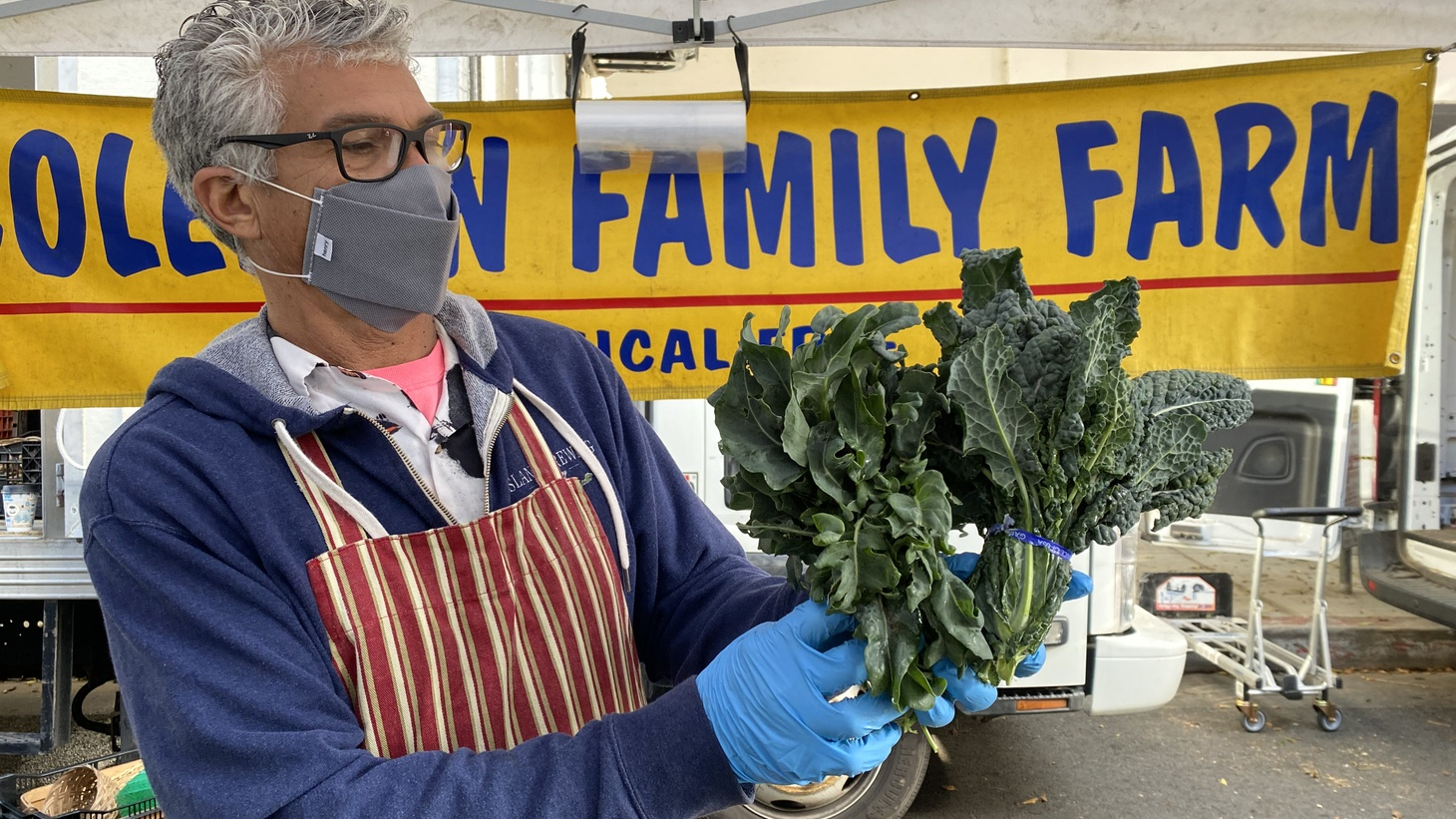 Beano Coleman and his brother Romeo of Coleman Family Farms have brassica at the Santa Monica Farmer's Market which is sweeter during winter months.