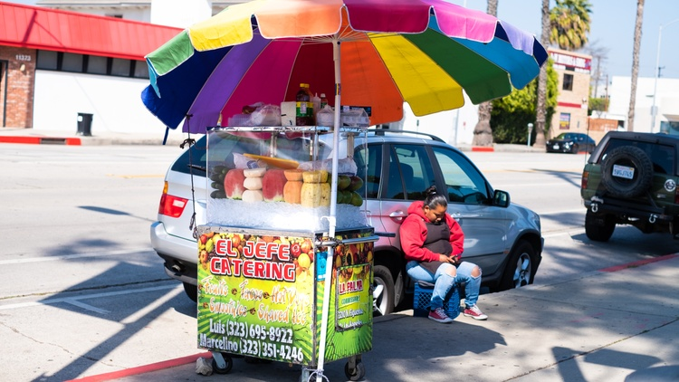 """When Professor Rocío Rosales began the six years of research for her book """" Fruteros ,"""" most of the fruit vendors she spoke with were young, undocumented men from a concentrated area…"""