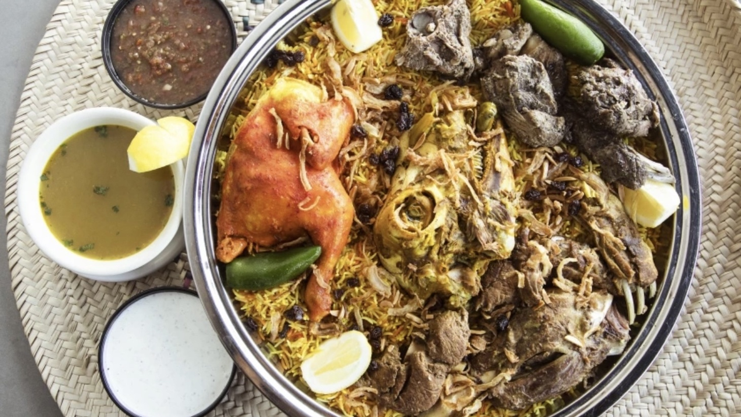 Traditionally prepared in an earthen pit, mandi is a technique used in Yemen that is typically prepared with chicken or lamb. Bill Addison recommends bringing friends and ordering a platter at the House of Mandi in Anaheim.