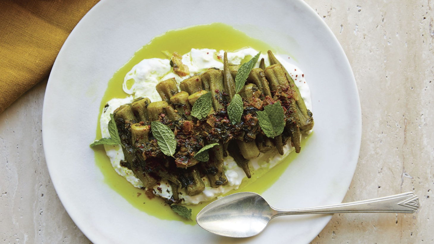 Ori Menashe's confited okra dish was inspired by his experience of peeling 240 artichokes a day when he worked at Angelini Osteria.