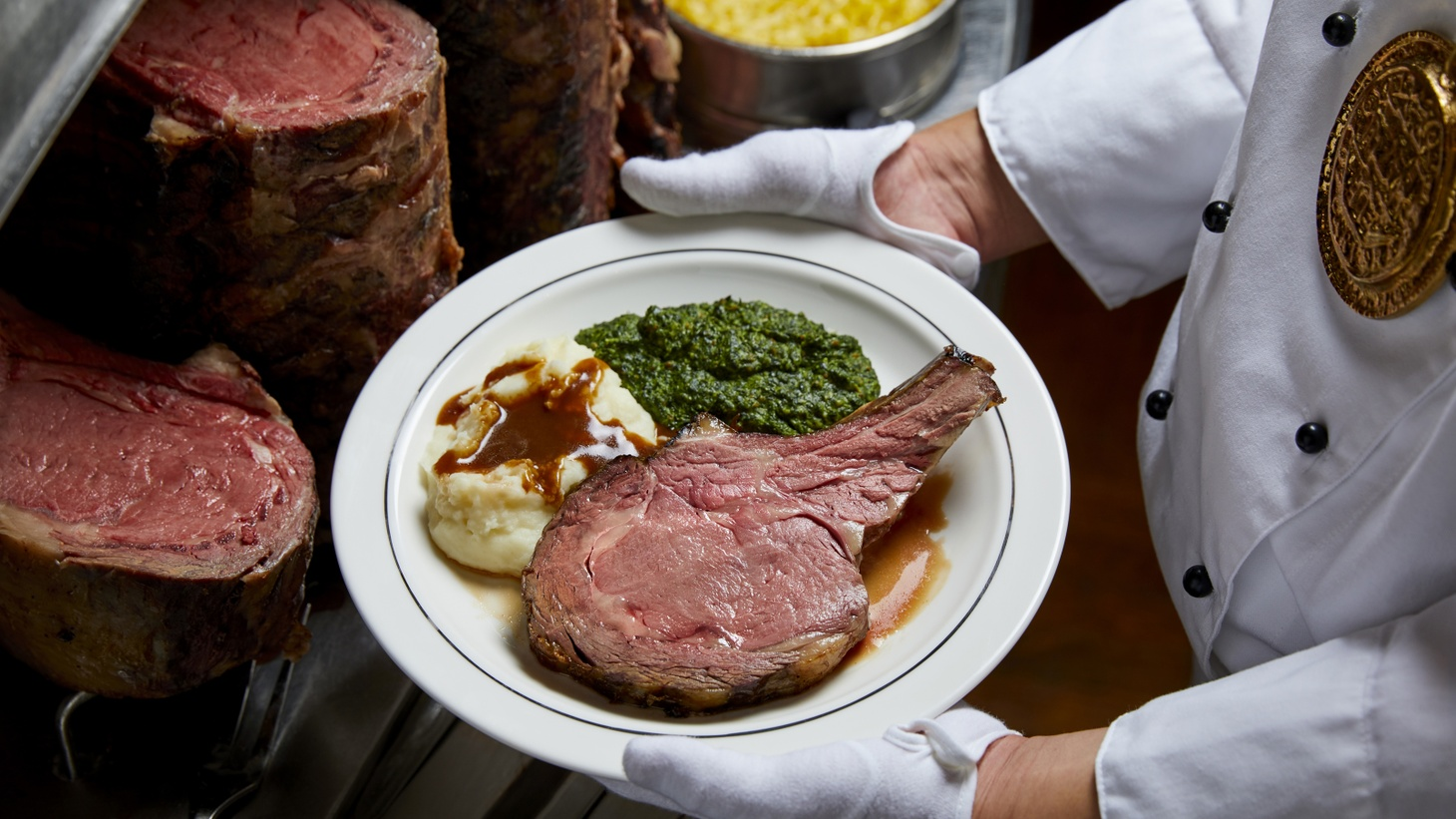 Patrons pick the temperature and size of their cut when ordering the signature prime rib and its famous sides at Lawry's on Restaurant Row.