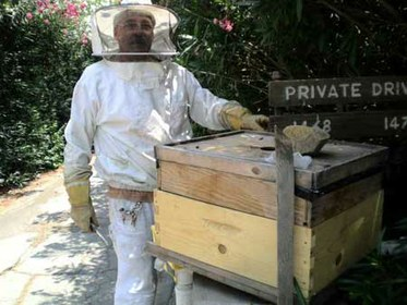 Kirk with Bee Hives