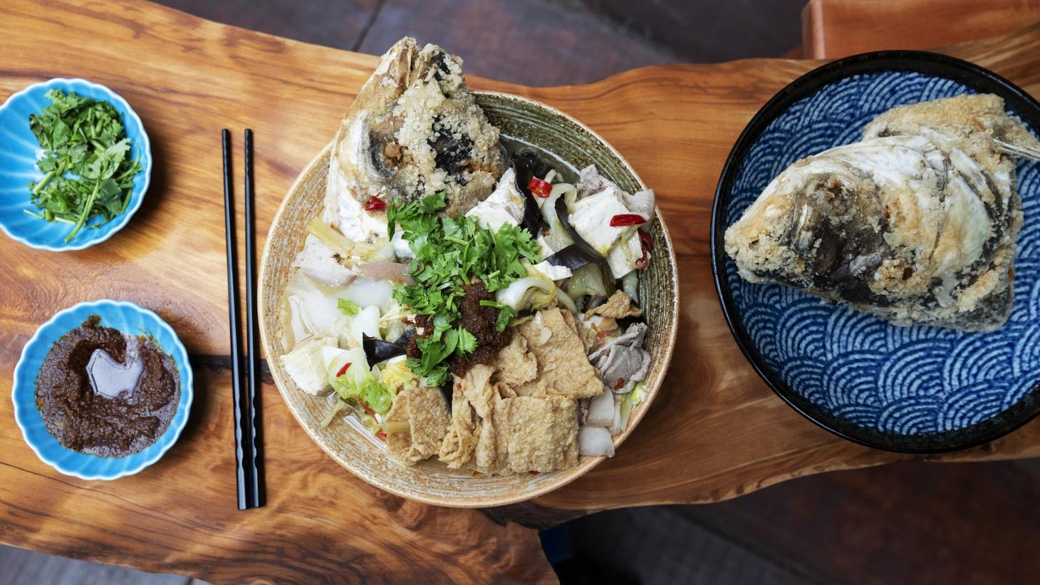 Fish head stew at Smart Fish in Chiayi, Taiwan.