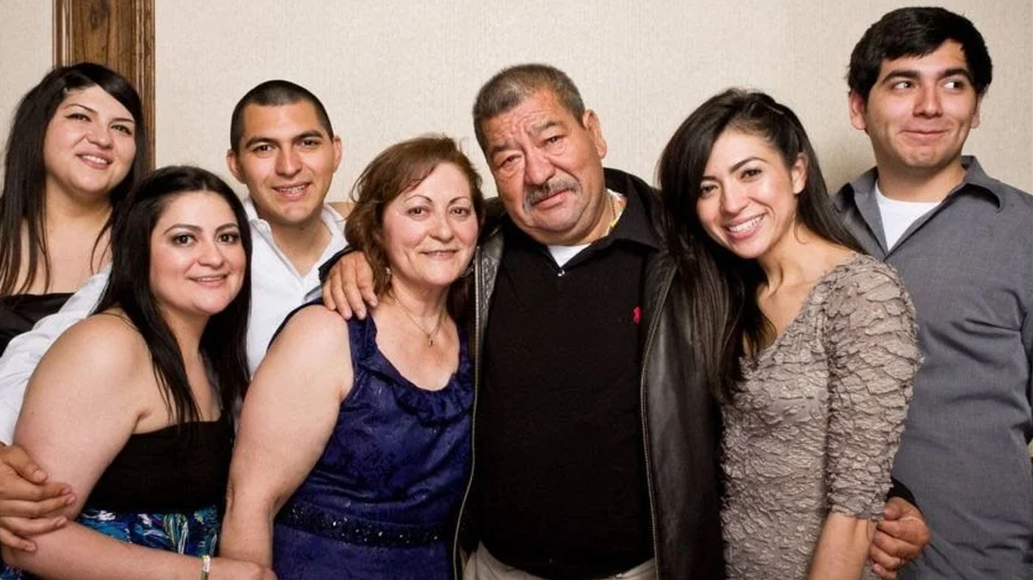 Francisco Ramirez (center) and his family. From left: Mavel, Monica, Francisco Jr., his wife Amalia, Mayra Rodriguez, and Edward.
