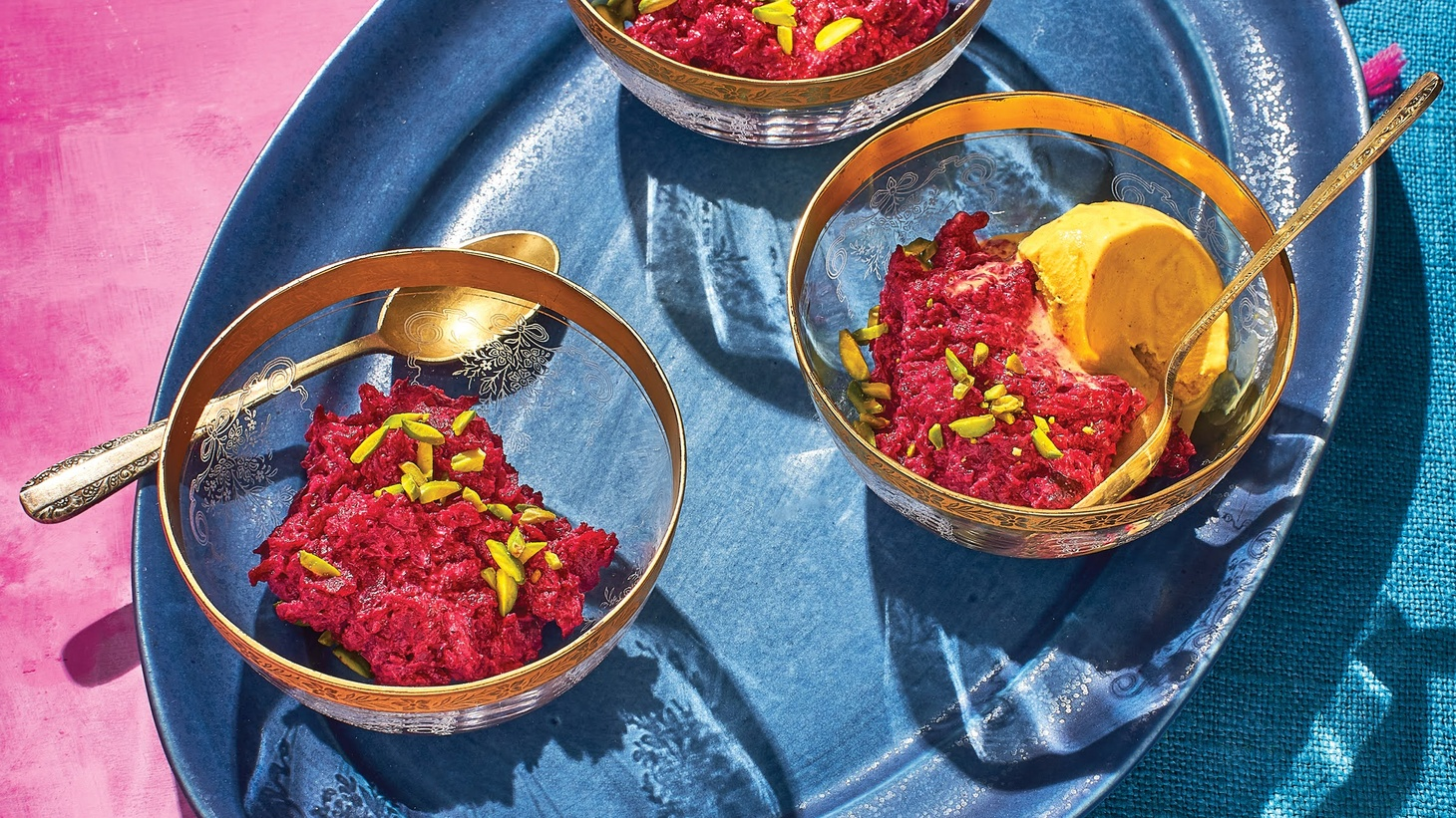 Chef Preeti Mistry created a no-bake halwa of cooked beets grated down in milk with pistachios for a sweet course for Holi.