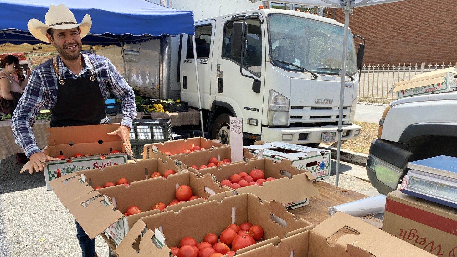 Victor Gomez is bringing tomatoes from Paso Robles all summer long.