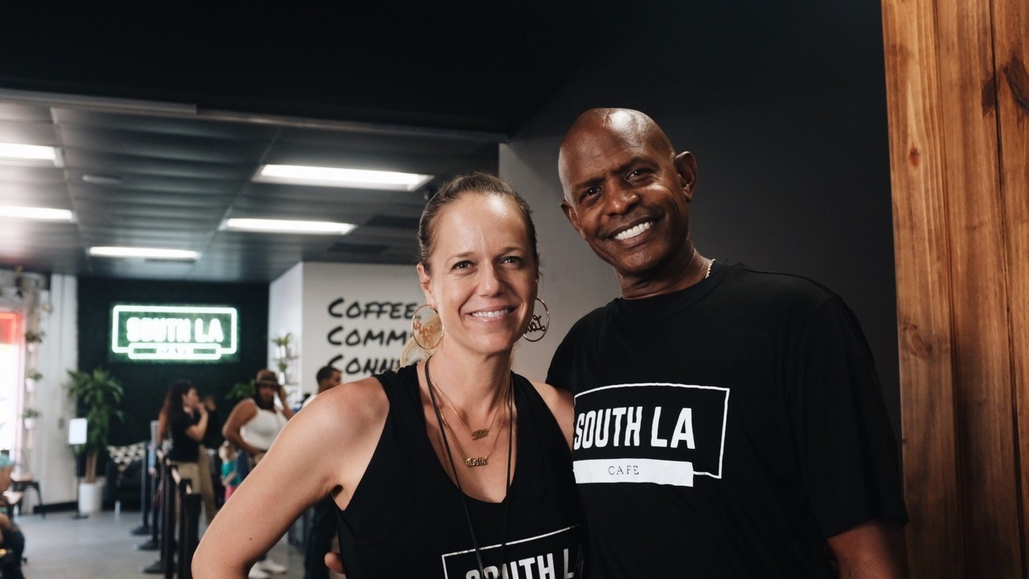 Celia and Joe Ward-Wallace are hoping the Good Food Zone policy will help them further grow their small business, South LA Cafe, which they opened in 2019 to offer fresh, affordable, and healthy food in a community of color.