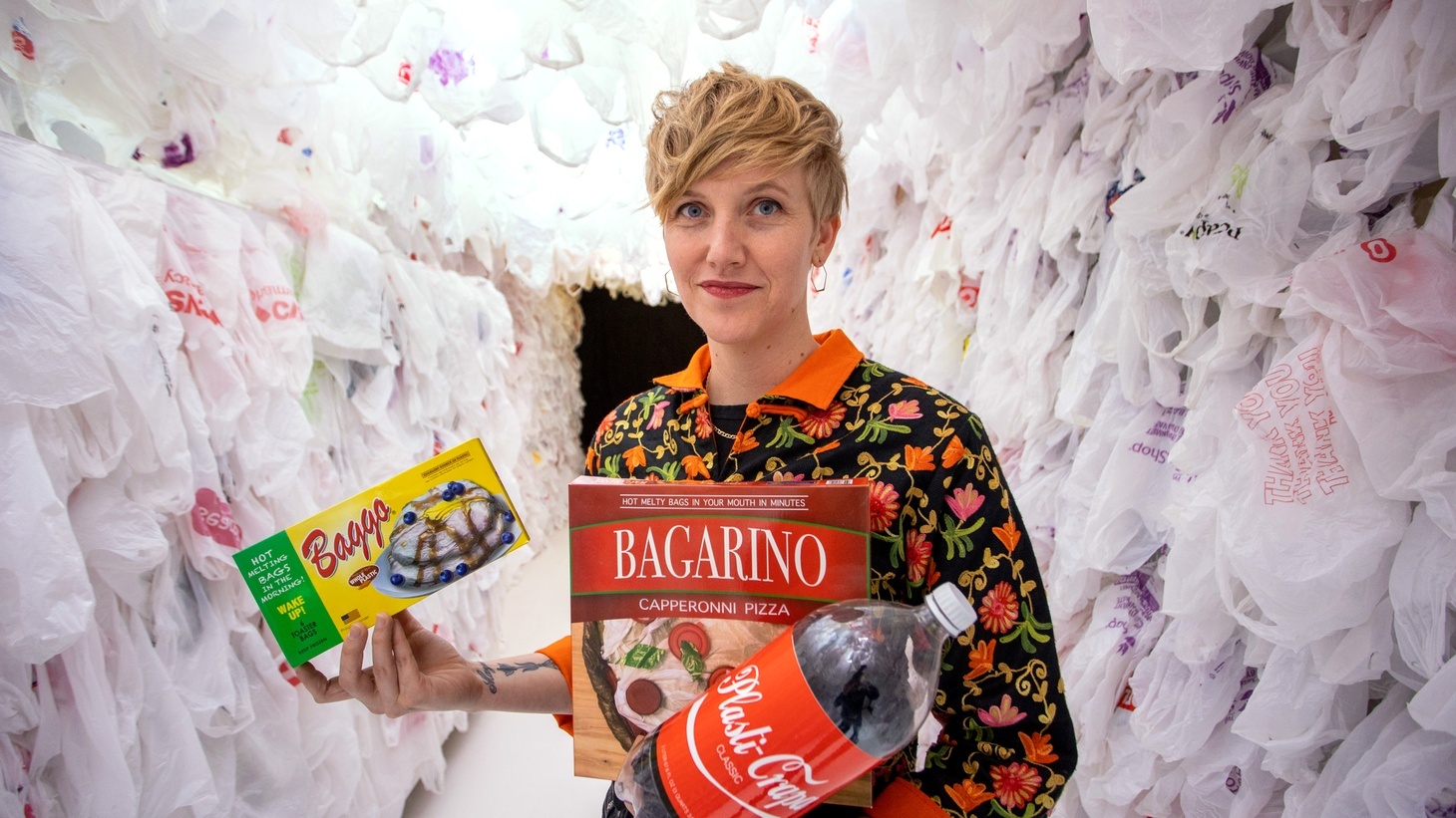 """Artist Robin Frohardt estimates that 10,000 plastic bags collected in New York were used in her project, """"The Plastic Bag Store."""""""