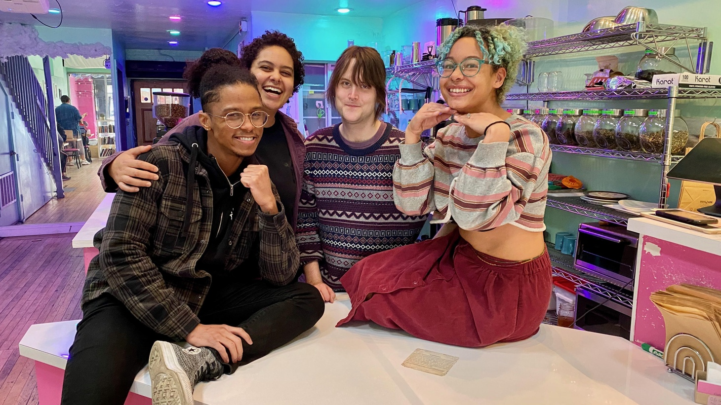 """""""We exchange 'I love you's' with our regulars,"""" says Sasha Jones. From left to right: LaVonce Goodlow II, Zael Ogwaro, Willow Connelly, Sasha Jones."""