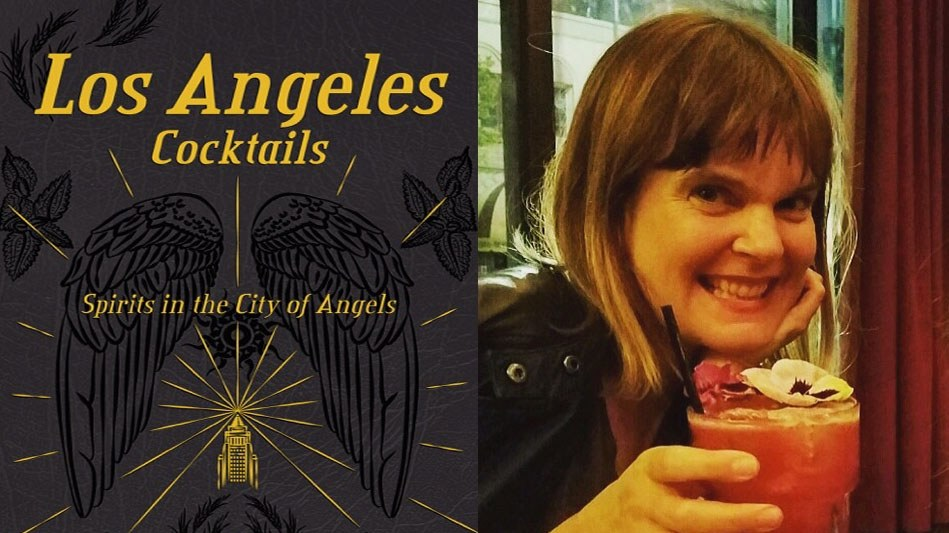 """The book cover of """"Los Angeles Cocktails"""" and author Andrea Richards."""