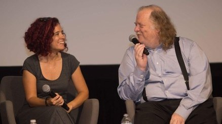 Carolina Miranda talks with Jonathan Gold at the USC Annenberg School of Communications in 2017.