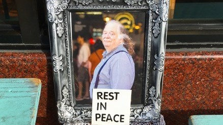 A memorial to Jonathan Gold at Lonzo's Bakery in Culver City.