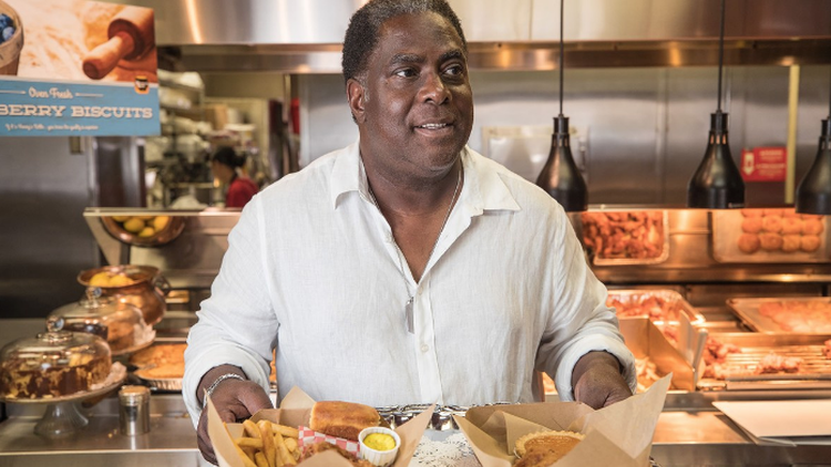 Vincent Williams is the owner of   Honey's Kettle  . Known for its golden fried chicken and honey-coated biscuits, Williams opened 20 years ago in Compton.