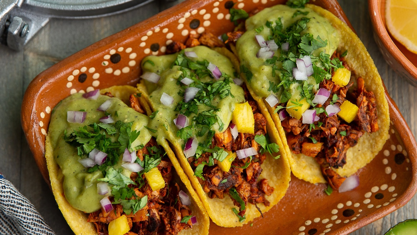 Tacos al pastor using jackfruit is an easy substitute for carnitas.
