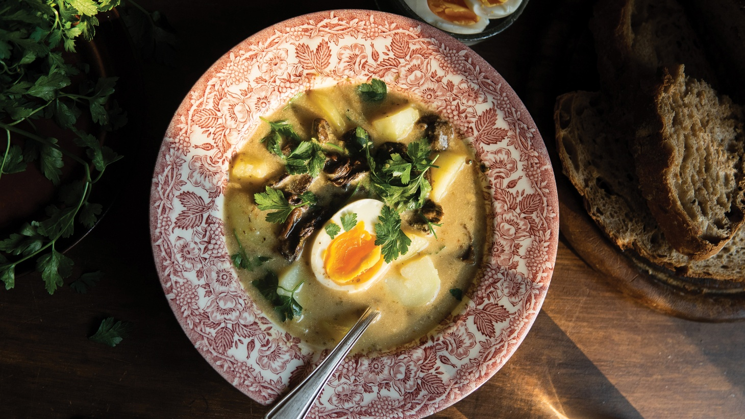 Zurek is a soup traditionally made with sausage. Michal Korkosz uses dried porcini and a soft boiled egg in his vegetarian version.