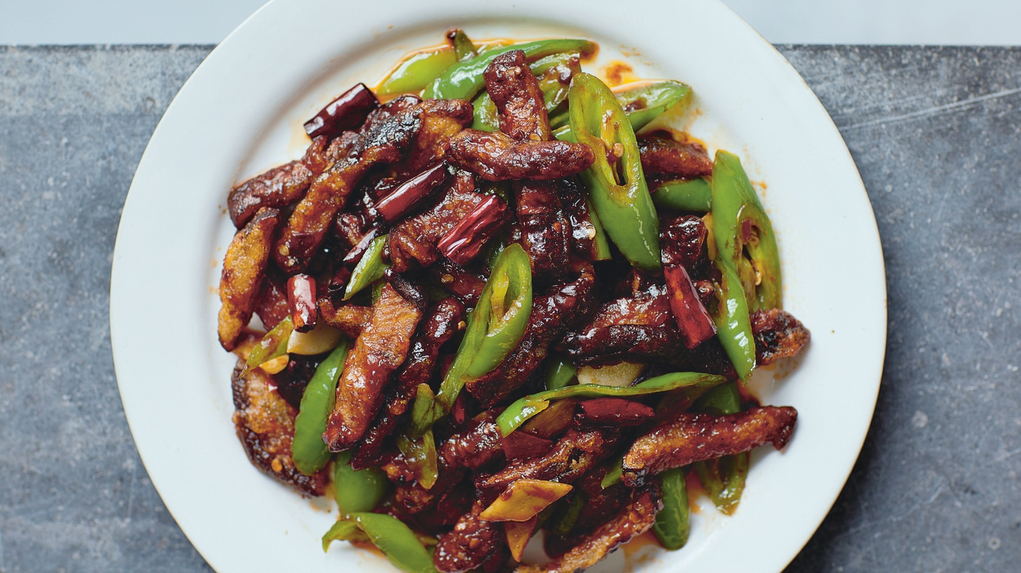 "Dry-fried ""Eels"" (Shiitake mushrooms). Reprinted from ""The Food of Sichuan."""