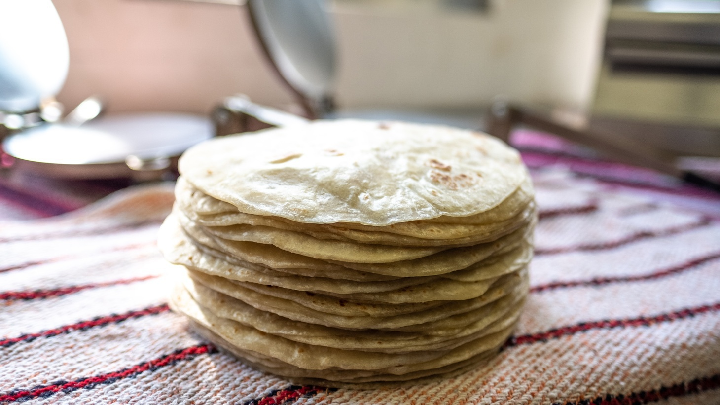 A stack of finished tortillas at Sonoratown.