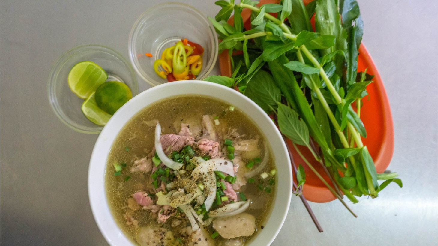 Vietnamese Pho Noodle Soup.