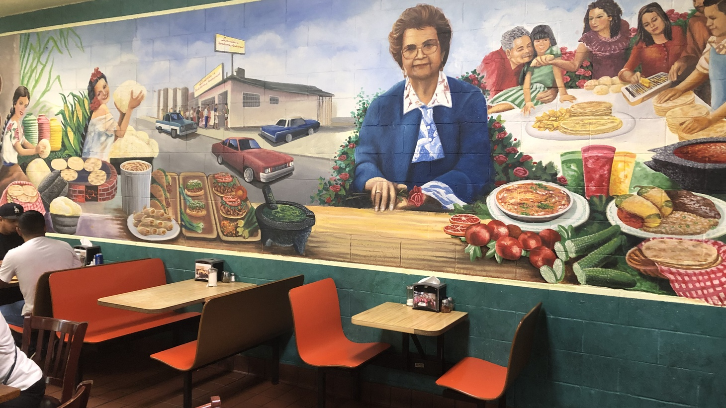 Interior mural at Lenchita's in Pacoima, which makes handmade corn tortillas.