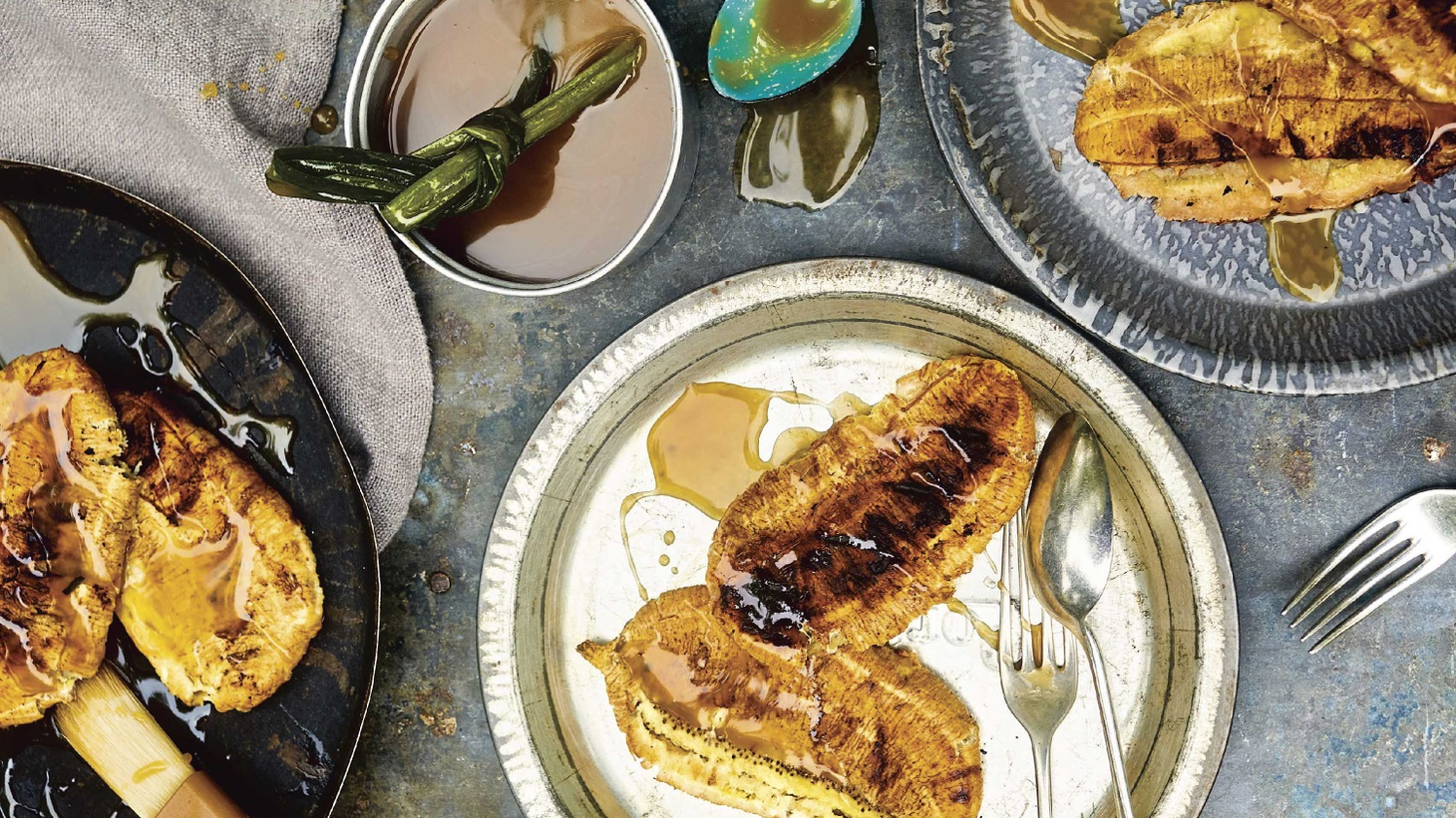 """Grilled bananas with coconut-palm sugar syrup from """"Flavors of Southeast Asian Grill."""""""