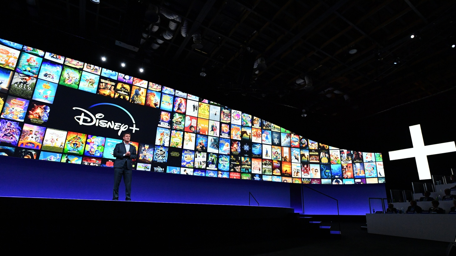 Kevin Mayer, Chairman of Walt Disney Direct-to-Consumer & International, speaks at Disney+ Investor Day in 2019.