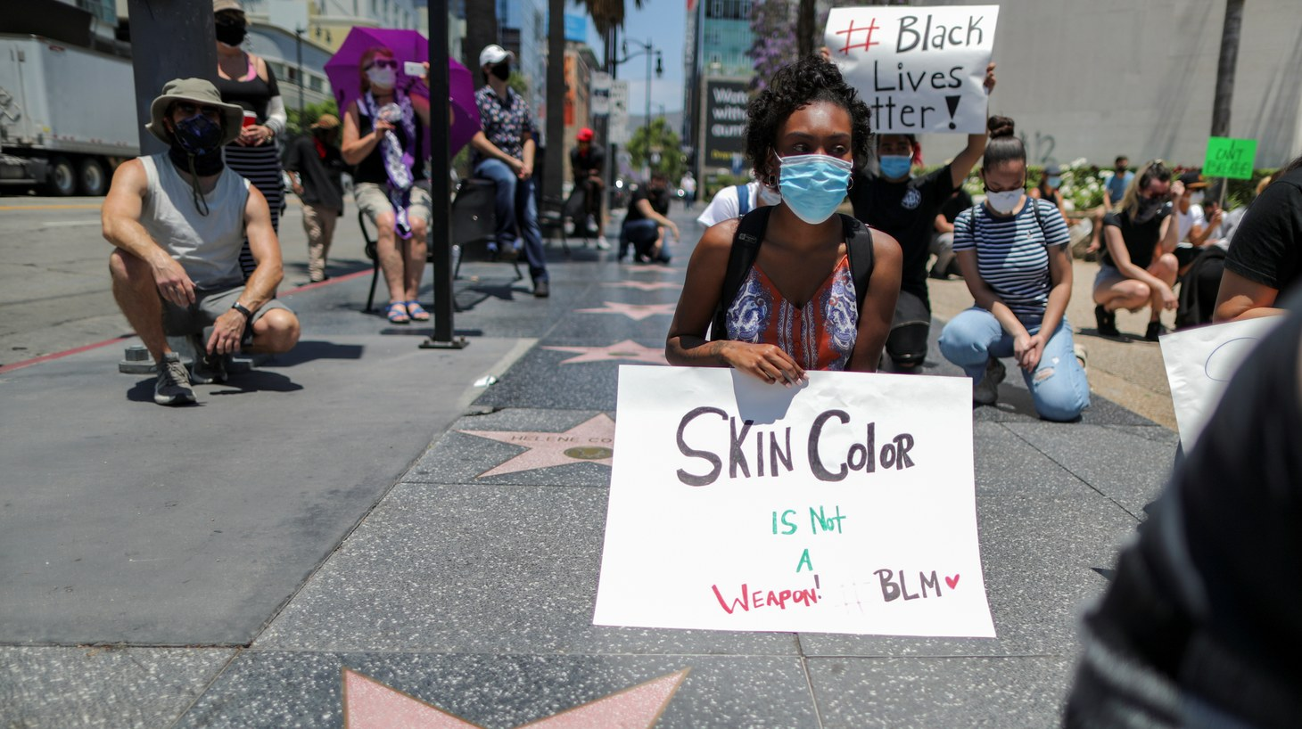 People attend a protest against the death in Minneapolis police custody of George Floyd, at a Hollywood Walk of Fame, Los Angeles, California, U.S. June 3, 2020.