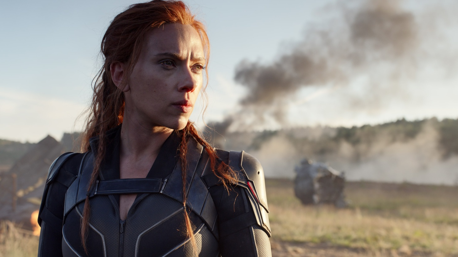 """Scarlett Johansson stars in """"Black Widow."""" The actress is suing Disney over the release of the film, which opened in theaters and streamed Disney+ for an upcharge on the same day."""