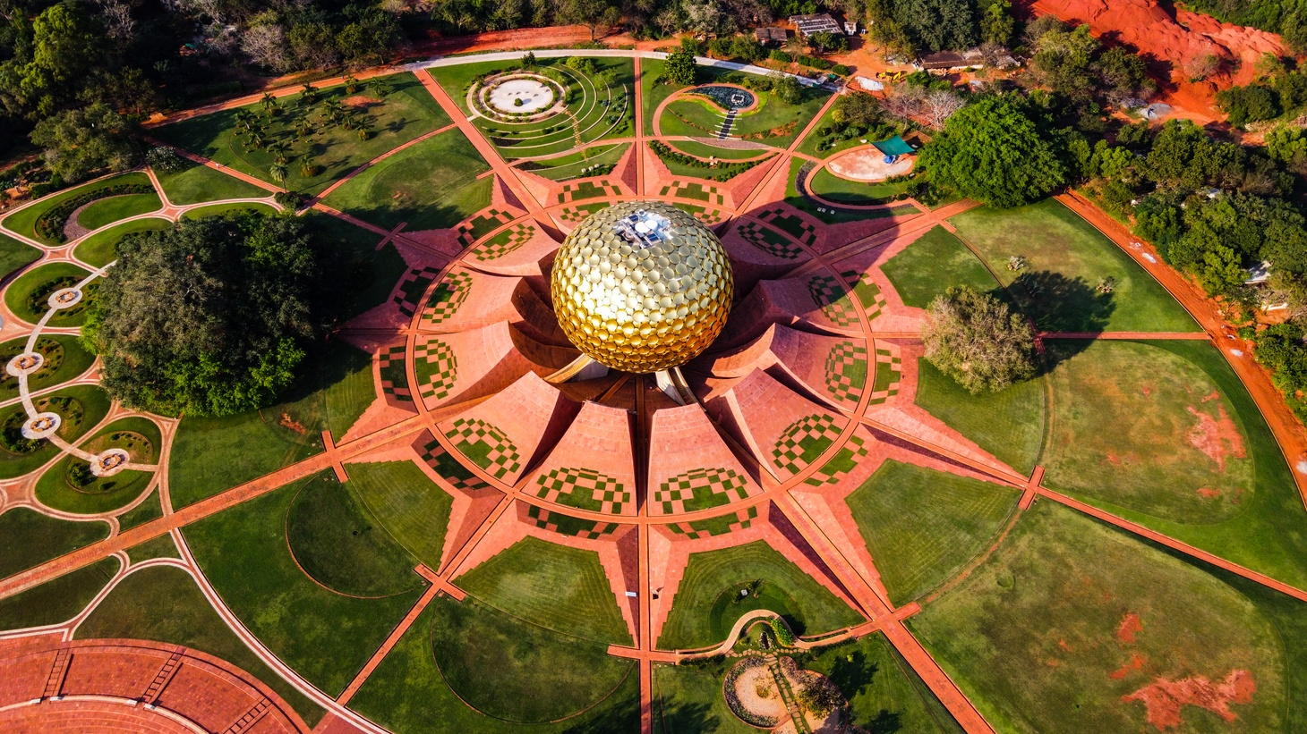 Arial view of Auroville. Auroville is an experimental township in Viluppuram district mostly in the state of Tamil Nadu, India with some parts in the Union Territory of Puducherry in India.