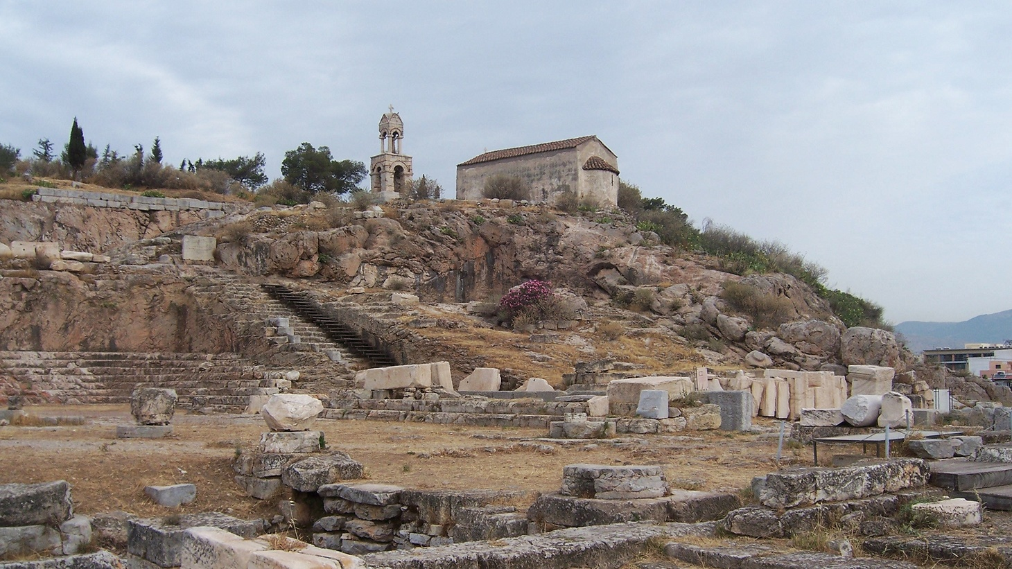 General view of sanctuary of Demeter and Kore and the Telesterion (Initiation Hall), center for the Eleusinian Mysteries, Eleusis.