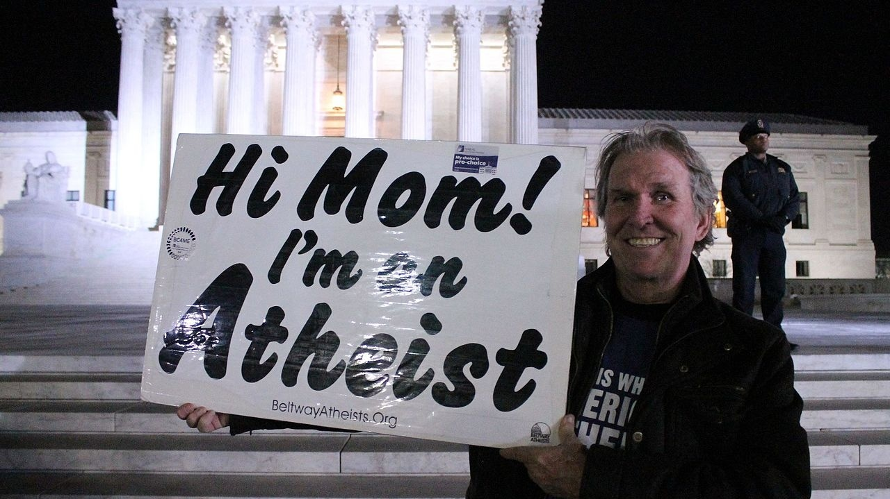 People For The American Way, Beltway Atheists rally in front of the United States Supreme Court on First Street, NE, Washington DC on Tuesday night, 31 January 2017.