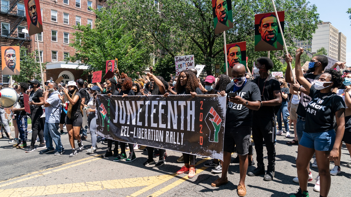 Hundreds of people attend at Juneteenth celebration at Brooklyn Public Library at the Grand Army Plaza, NY.