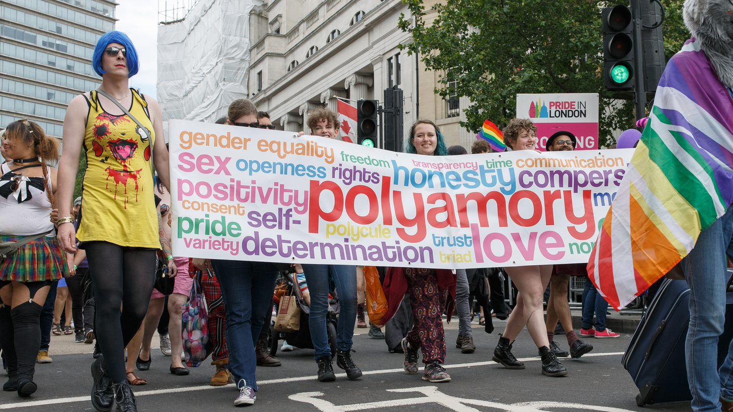 Polyamorous people parading under their banner at Pride in London 2016.