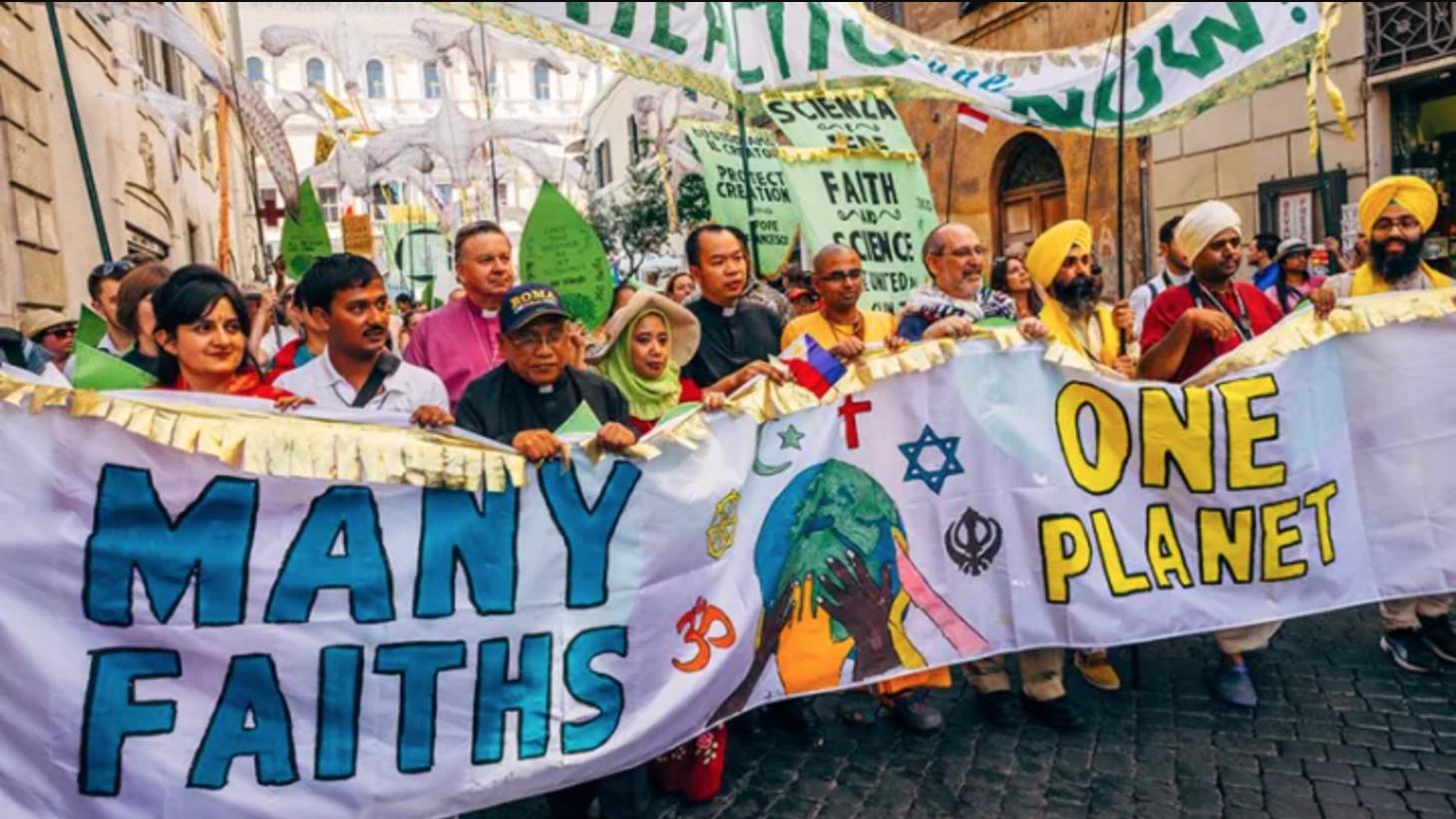 A climate change march with interfaith participants in Vatican City in 2015.