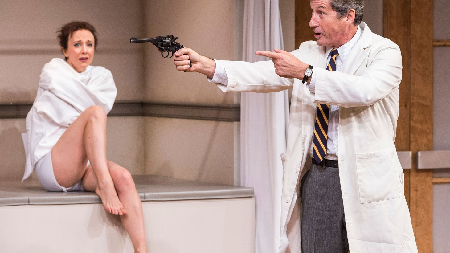 It's hard to make sense of the latest play,  a straight forward British sex farce,  at the Mark Taper Forum...
