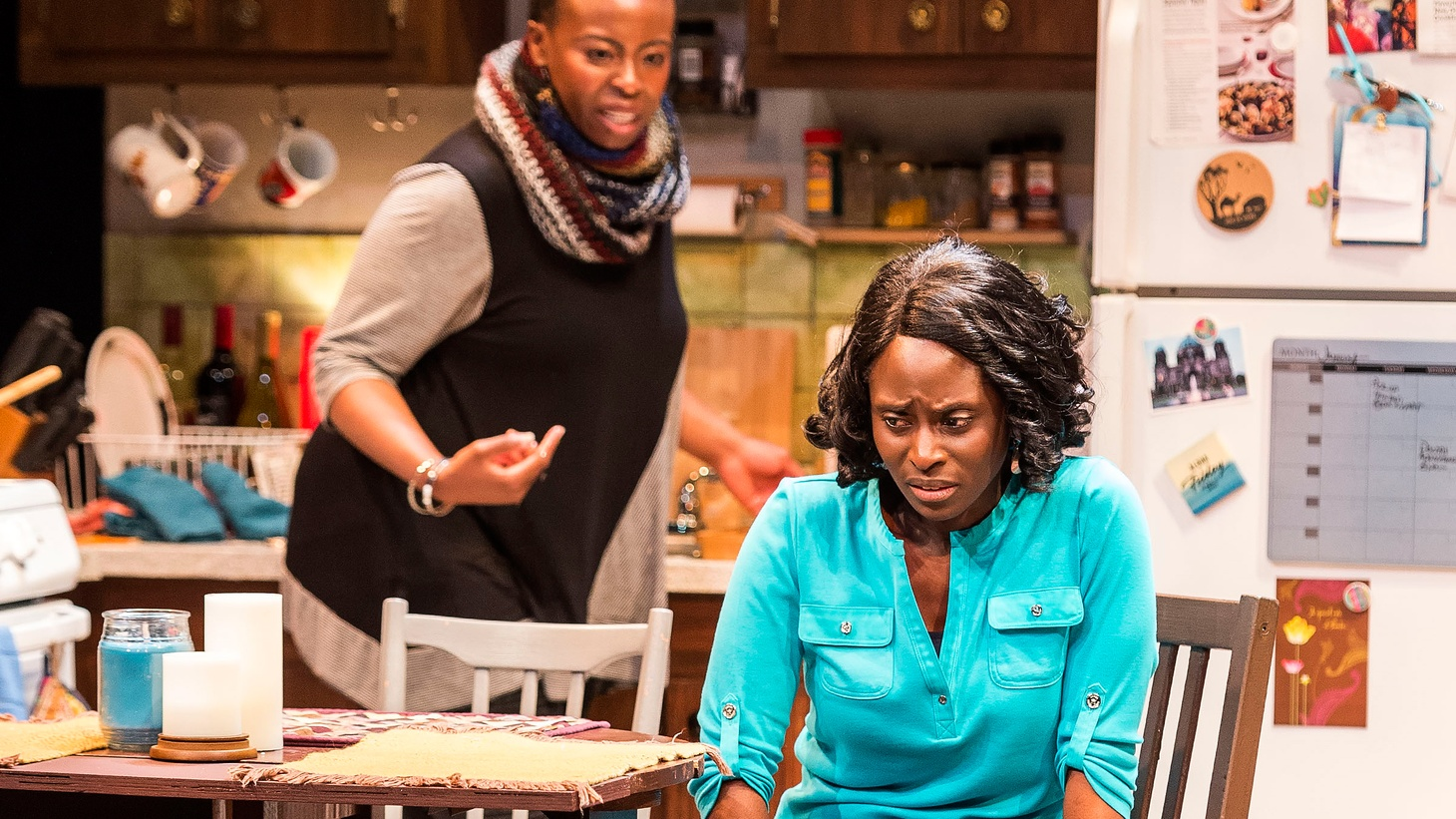 """Mfoniso Udofia's play at Boston Court is not a satisfying play. In the opening scene of """"Her Portmanteau,"""" Iniabasa certainly does not look satisfied."""