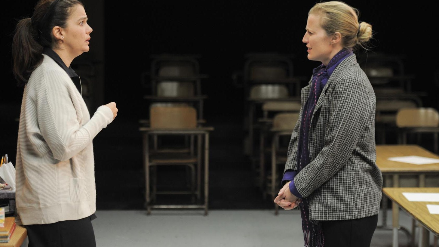 """Furious Theater Company transforms the intimate, upstairs theater at the Pasadena Playhouse into a classroom for their production of """"Gidion's Knot."""""""