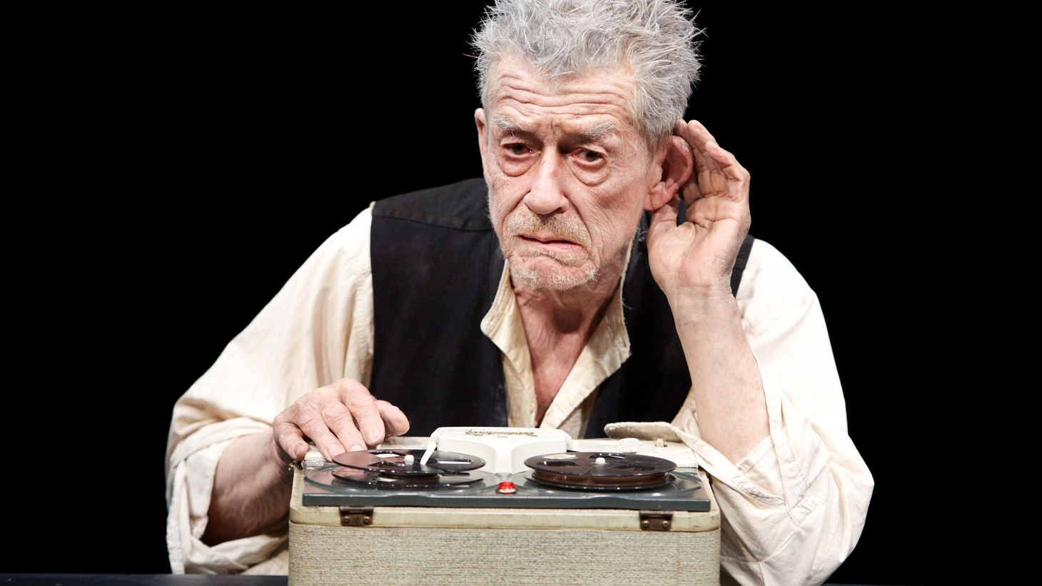 """Anthony Byrnes on the bittersweet joys of memory and John Hurt's performance in Samuel Beckett masterpiece, """"Krapp's Last Tape,"""" at the Kirk Douglas Theater."""