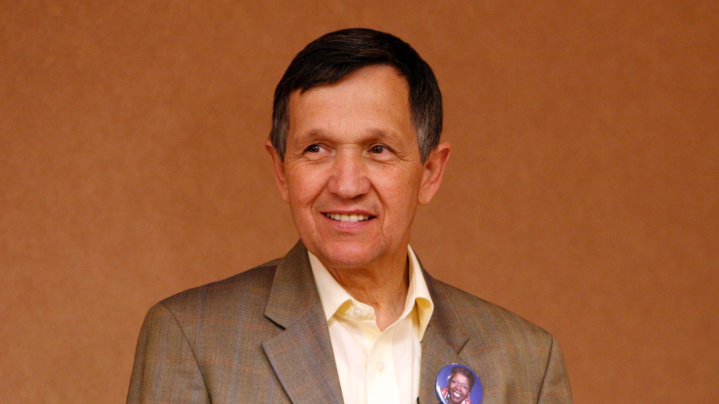 U.S. House Representative Dennis Kucinich (D-Ohio) waits to speak to a crowd at the 2008 DNC.