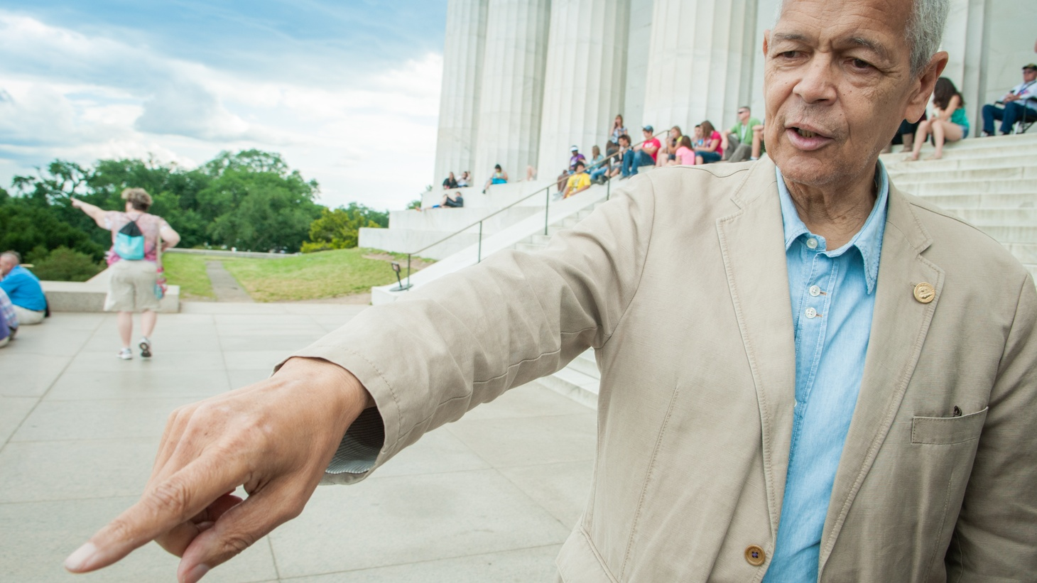 """Julian Bond on location at the Lincoln Memorial during the filming of the documentary """"Julian Bond: Reflections from the Frontlines of the Civil Rights Movement"""""""