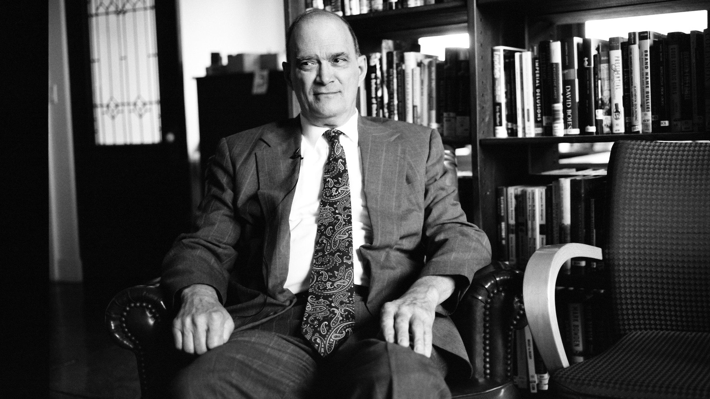 William Binney sitting in the offices of Democracy Now! in New York City on May 2012, prior to appearing with hosts Amy Goodman, Juan Gonzalez, and guest Jacob Appelbaum