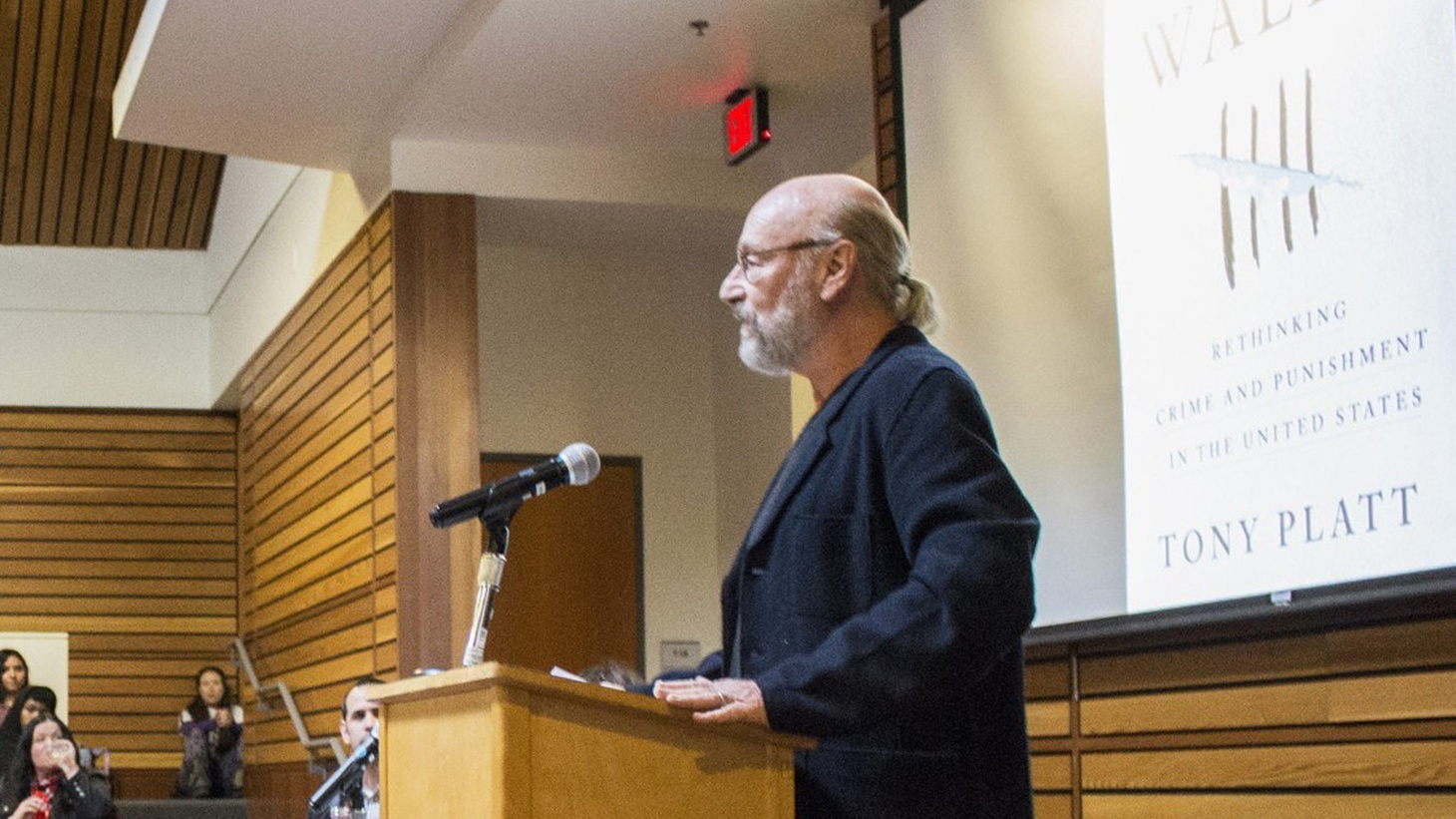 Tony Platt, author of 'Beyond These Walls: Rethinking Crime and Punishment in the United States, speaks to students, professors, and community memebrs in The Native American Forum at Humboldt State University on Feb. 14.