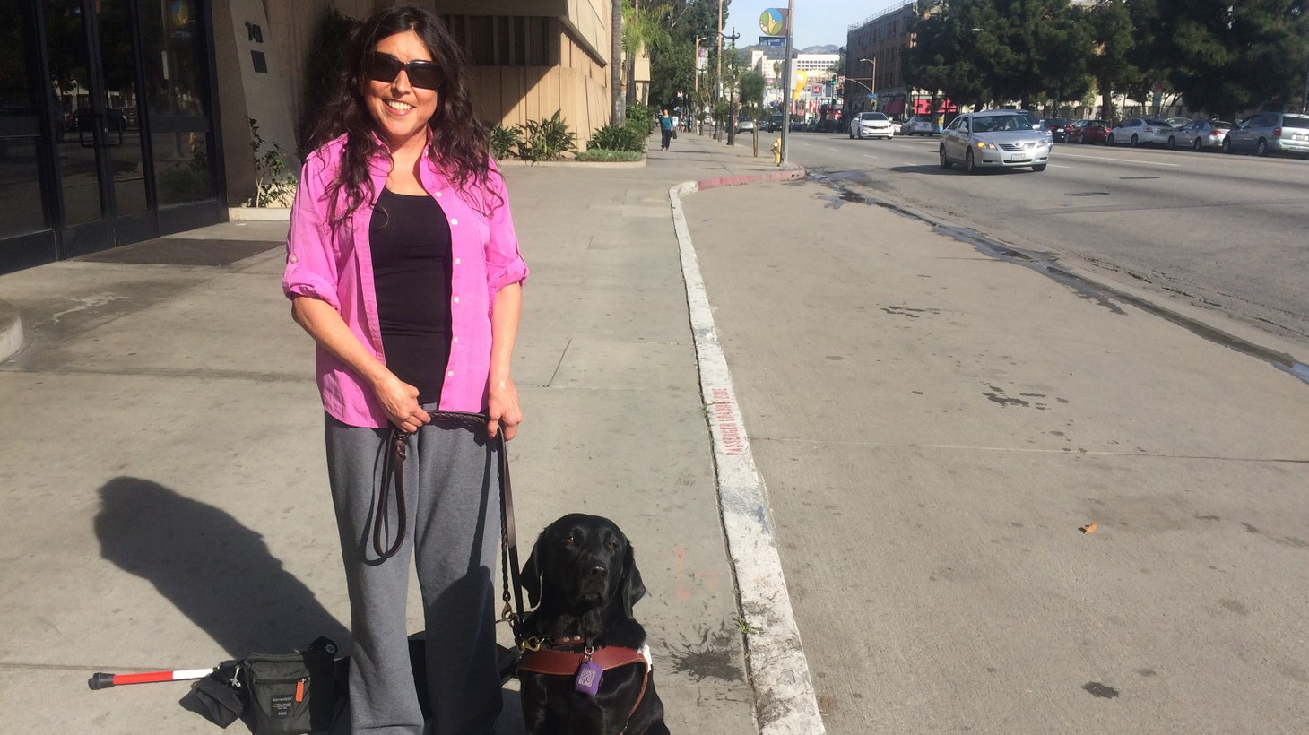 Melissa Hudson and her guide dog.
