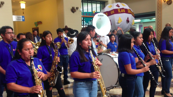 A band plays as part of the festivities marking the opening of the Visualizing Language: Oaxaca in LA exhibit at the Central Library.