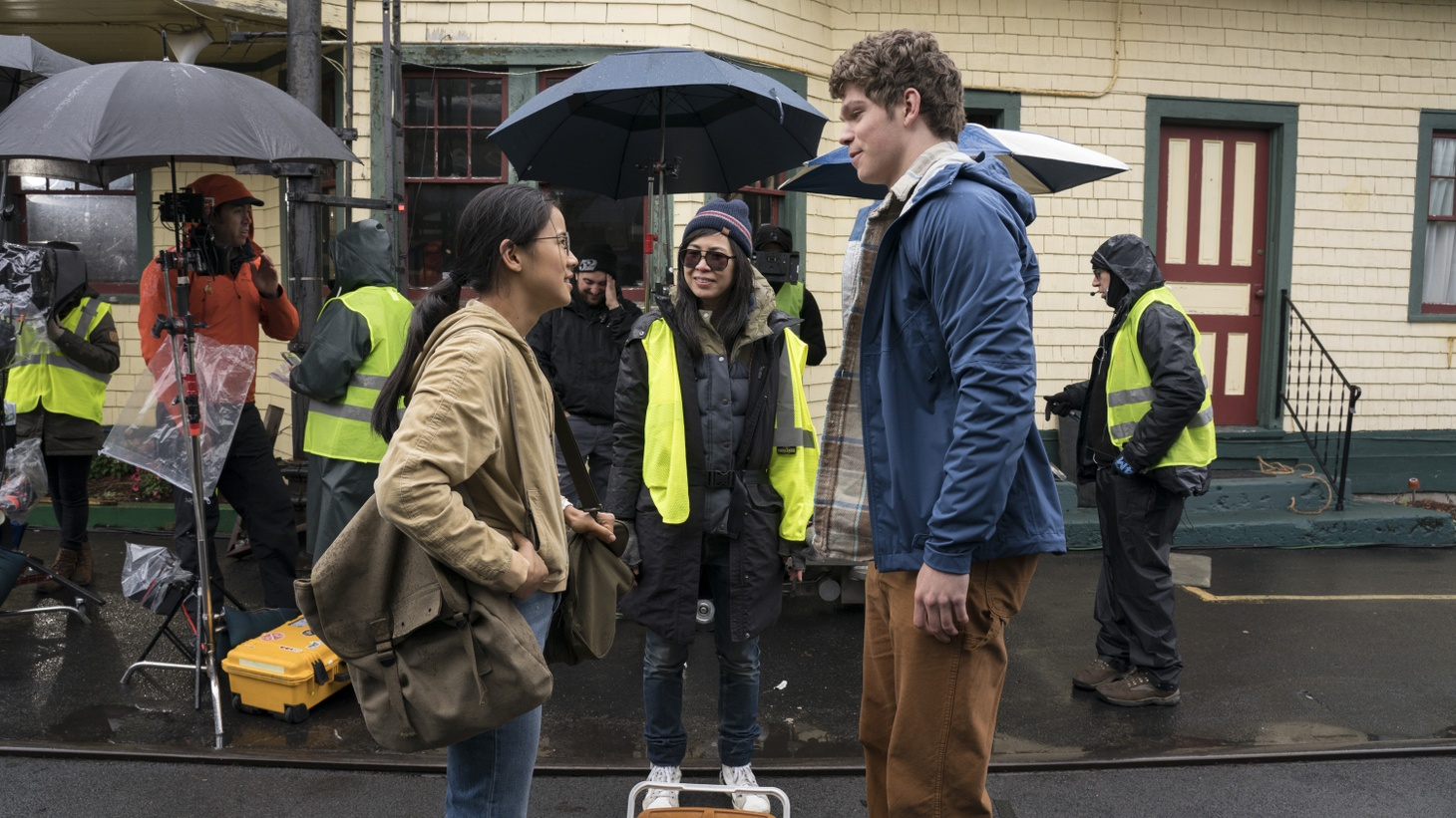 "Leah Lewis, Alice Wu, Daniel Diemer on the set of Netflix's ""The Half of It."""