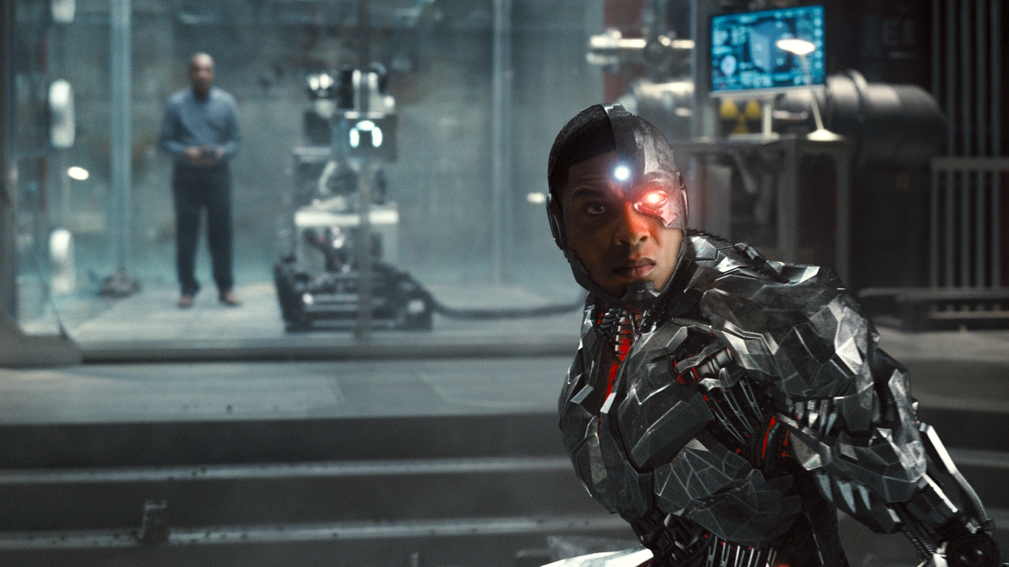"Ray Fisher as Cyborg in ""Zack Snyder's Justice League."""