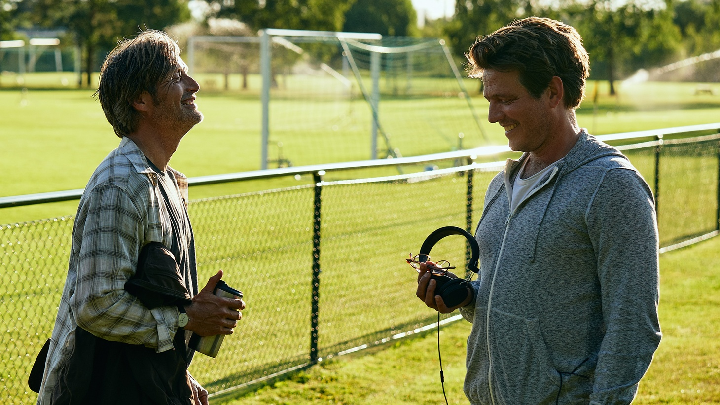 """Mads Mikkelsen and director Thomas Vinterberg on the set of """"Another Round."""""""